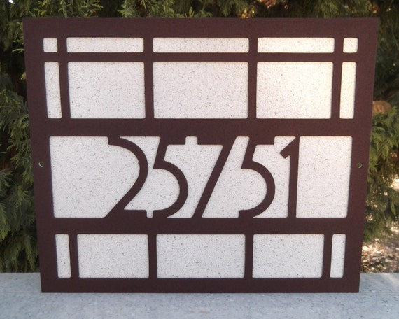 Arts and craft address sign mission style bungalow house for Bungalow house numbers