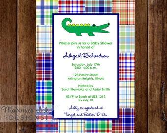 Preppy Madras Alligator Baby Shower Invitation  - PRINTABLE INVITATION DESIGN