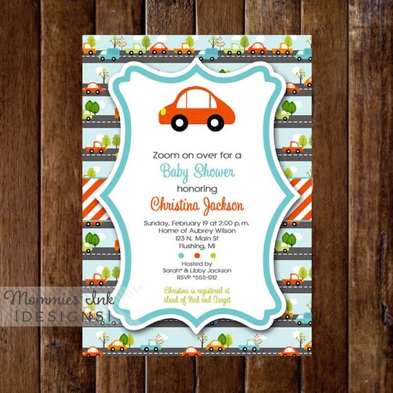 Car Baby Shower Invitation, Transportation Baby Shower Invitation, Cars and Trucks Invitation, Car Invitation, Car Theme, DIY, Car Party