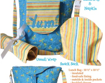 Lucy's Lunch Bunch Pattern includes lunch bag w/adjustable strap,ripstop nylon-lining(food safe),reversible napkin,snack bag,& utensil wrap.
