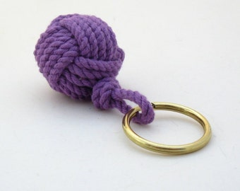 Nautical Keychain Monkey Fist Purple Cotton Modern Style