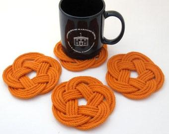Nautical Coasters Woven Orange Cotton Turks Head Knot 4 pack