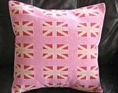 Pillow Union Jack pink fuchsia cream 18  inch decorative cushion cover london British flag