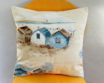 Beach huts cushion seaside nautical blue denim brown beige beach holiday pillow cover case sham  One 18 x 18 Throw pillow
