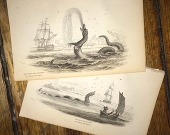 C. 1839 SEA MONSTERS - the great & the giant sea serpents - rare original antique sea monster engravings - set of two prints