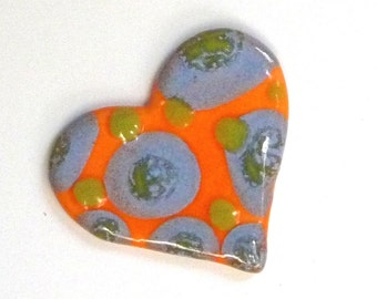 Bright Orange Heart  Brooch with Lime Green and Icy baby blue Polka Dots
