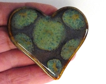 Sparkle Purple Heart  Brooch with Blue Green Polka Dots