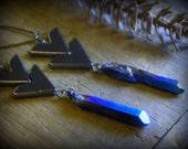 The Wayfarer Boho Earrings  Hematite Chevrons and rustic rough mystic blue raw quartz points earrings