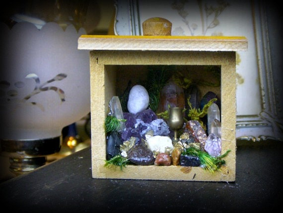 ROCK GARDEN: Tabernacle for a Faery. Mini Antique wood box curio Geology Collection. Amethyst Tourmaline Onyx Bloodstone Quartz Pyrite Moss