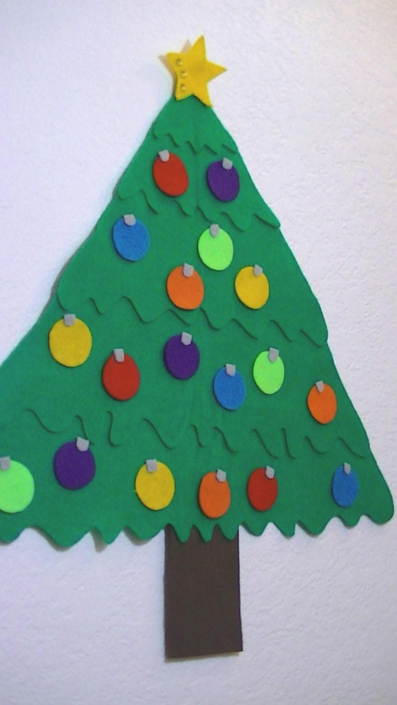 felt christmas tree kids wall hanging decoration by heartfeltbya. Black Bedroom Furniture Sets. Home Design Ideas