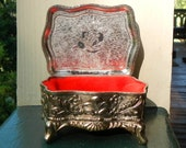 Vintage Jewelry Box Made In Japan Porcelain Flower Design and Metal Exterior