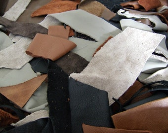 High Quality Leather Scraps - 3 lb. Assortment Small Strips