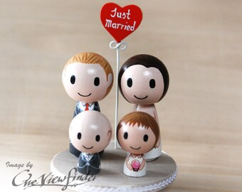 2.5 inches Customise Wedding Cake Topper with Heart Message and 2 child