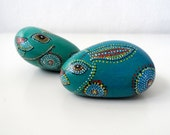 Aqua Blue Green Rabbit Set of 2   - Painted Stones  Home Decor Paperweight , Dotted Aboriginal Art , unisex gift