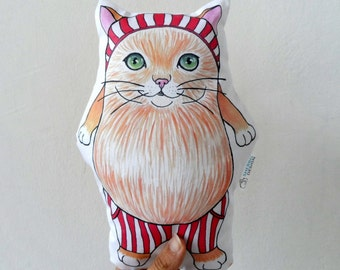 Christmas Santa Cat Plush Pillow, nursery decor, animal decorative pillow, cat soft sculpture, animal totem
