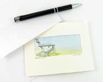 Original Seascape Painting - Adirondack Chair Petite Watercolor - Painting for Sale