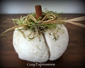 Handmade Miniature White Fabric Pumpkin