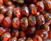 Sweet Pumpkin Picasso Faceted Roundel Czech Glass Beads, 6x8mm, 10