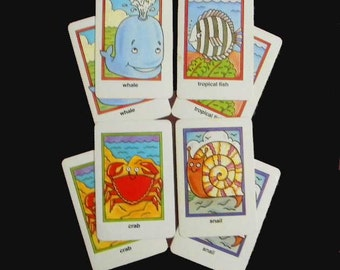 8 Children's Playing Cards, Sea Creatures. Set of 8 Vintage Playing Cards. 4779