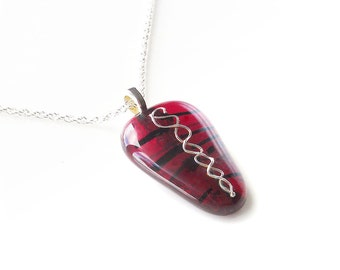 Pendant Necklace, Fine Silver Embellished, Red & Black Stained Glass