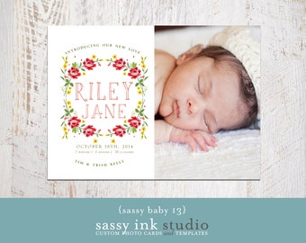 Floral Wreath Baby Girl Photo Birth Announcement  (baby no. 13) - Instant Download
