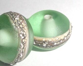 Silvered Ice Green ...Set of -2-  Handmade Lampwork Glass Beads  silver beach sea glass pair summer ocean earring Beatlebaby