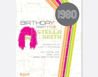 80s Invitation, Vintage Party Invitation, Retro Party Invitation, Fun Party Invitation, Groovy Party Invitation