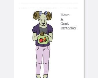 School Goat Birthday Card, Fun Birthday Card, Animal Birthday Card, Kid Birthday Card, Boy Birthday Card, Girl Birthday Card
