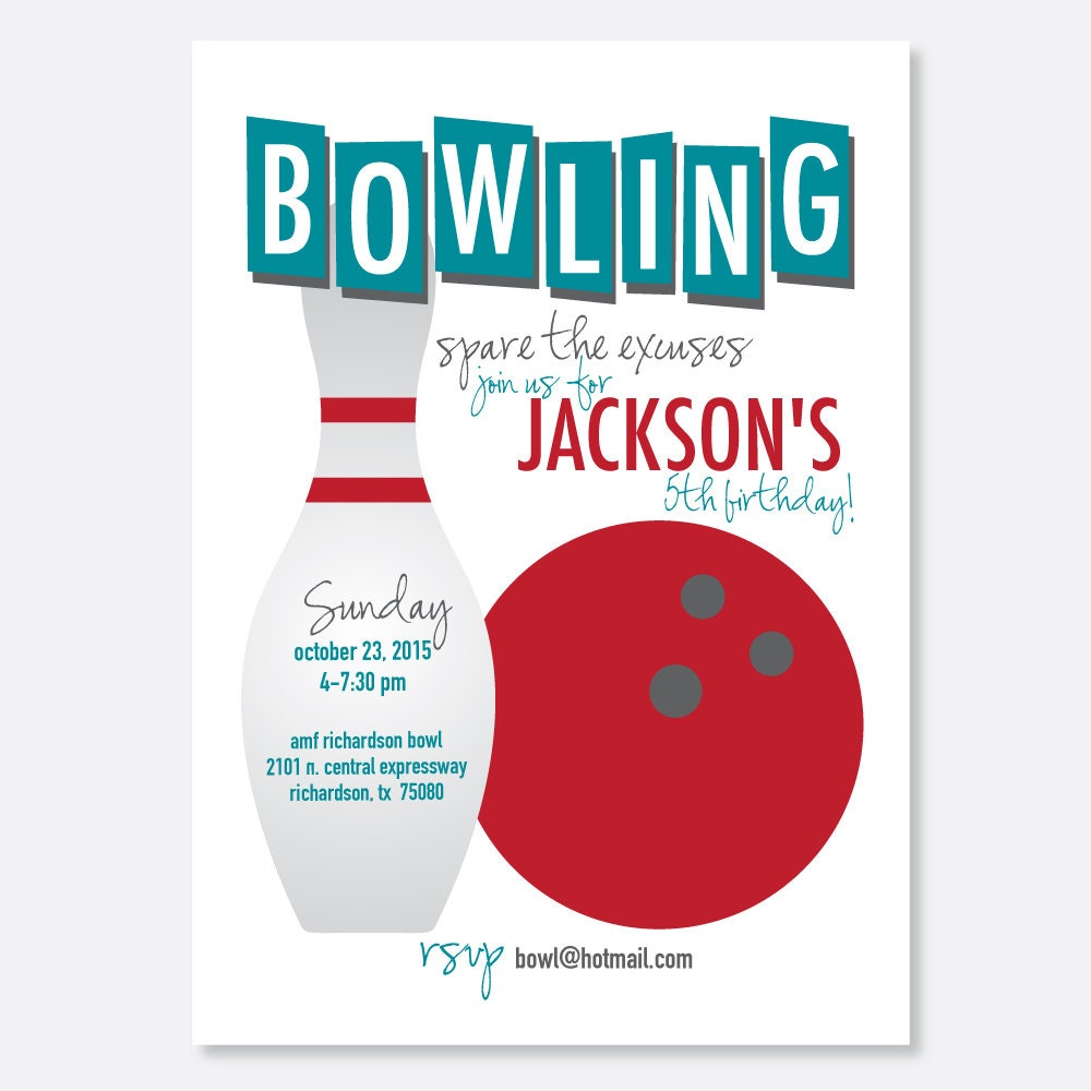 Bowling Party Invitation Kids Birthday Party Invitation Bar