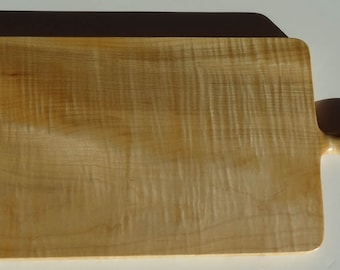 Curly Maple, Tiger Maple cutting board, vegetable board, with carved handle