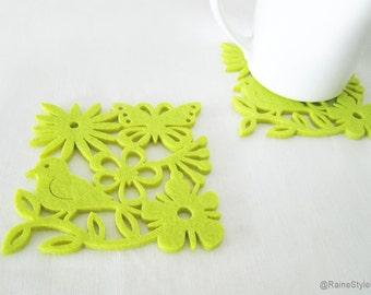 Summer Botanical Garden Lime Green Felt Coasters. Set Of Six. Green Leaves Florals Bird Coasters