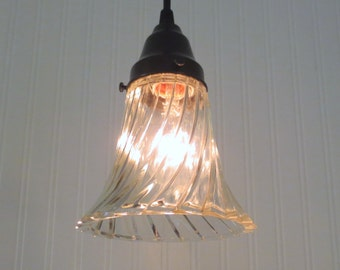 Cary's Millville. Clear Vintage Holophane PENDANT Light