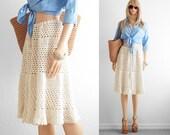 Crochet Skirt 70s Boho Crochet Skirt Boho Clothing Boho Skirt Vintage Summer White Lace Ruffle Crochet Skirt Cream Lace Crochet Skirt  XS S