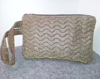 Gold & Black Embroidered Wristlet Bag Pouch Handbag