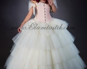 Size Medium Peach and ivory lace tiered burlesque corset prom dress full length ball gown with hoop skirt and bolero Ready to Ship