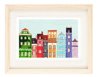 """POZNAN, POLAND - Colorful Art Skyline 8 x 10"""" or 11 x 17"""" Print Of Polish Town Buildings Of Old Market Square, Wall Decor, Green, Red"""
