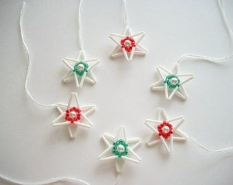 White Star Ornaments Beaded Tree or Wall Hanging with Faux Pearl Center Holiday Decoration 6 pcs