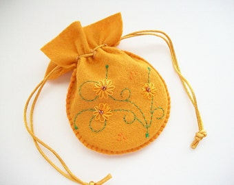 Felt Pouch Mustard Yelllow Drawstring Bag Hand Embroidered Handsewn
