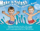 Pool Party Birthday Invitation for 2 children - Personalized with your photo DIGITAL FILE