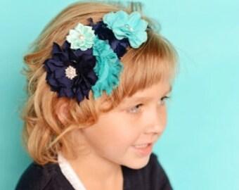Navy hard headband, aqua hard headband, teal hard headband, flower headband, flower crown, girl hair accessories, girl birthday gift, photo