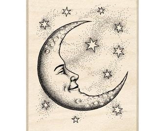 Crescent Moon Rubber Stamp • Woodblock Craft Stamp • DIY • Crafting • Stamping • Card Making • Decorating • Scrapbooking • Creating (95194)