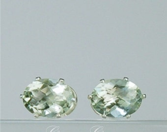 Prasiolite 8x6mm 2.35ctw Sterling Silver Gemstone Stud Earrings