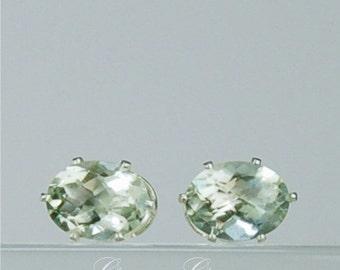 Prasiolite 8x6mm 2.35ctw Sterling Silver Gemstone Stud Earrings