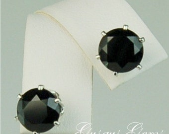 Black Spinel Sterling Silver Studs 8mm 5.15ctw Natural Untreated