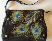 Peacock Feather bag - Stone Mountain Black leather Purse - Art to carry on your arm