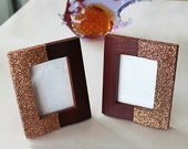 "Wood Picture Frame, Hand Glittered in Copper, 3.4"" x 4.0"", Set of Two. Handmade."