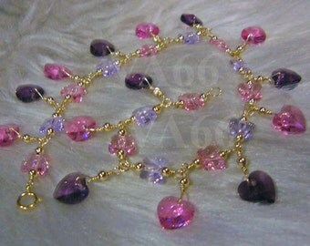 14K Gold Filled Swarovski Butterfly n Heart Crystal Charm Anklet Color Choices Sterling 925 Silver Bridal jewelry, bridesmaids, Bride, MOB