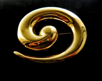 Amazing large brooch,  MONET copyright - 1960 Vtg, large gold Geometric  spiral with glossy textureart.307/3-