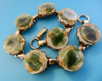 Enchanting 1950 Italian bracelet - Amazing  art acrylic cabochon links- Murano Sommerso and gold--Art.376/3 -