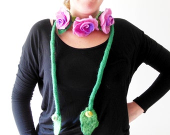 felt roses necklace or a scarf, eco friendly, statement necklace, lariat, Winter Accessories